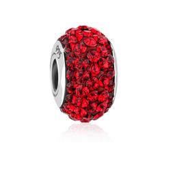 Nenalina Charm-Einhänger Kugel Bead Violett Kristalle 925 Silber rot