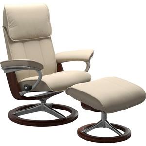 Stressless® Relaxsessel Admiral (Set, Relaxsessel mit Hocker), mit Hocker, mit Signature Base, Größe M & L, Gestell Braun natur 93 cm x 113 cm x 79 cm