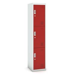 Dreitüriger schrank, zylinderschloss, 1800 x 380 x 450 mm, grau/rot