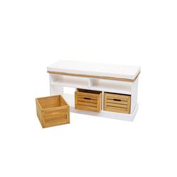 MCW Sitzbank MCW-G50, Sitzbank mit Staufächern, Landhaus-Stil, Inklusive 3 Holzboxen, Bequemes Sitzpolster