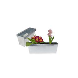 BigDean Blumenkasten Pflanzkasten Balkonkasten Europalette Blumenkübel verzinkt Pflanzkübel LxBxH ca. 35,5 x 12 x 12,5 cm Palette Palettenmöbel balkon Pflanztrog (8 Stück)