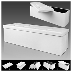 Deuba Sitztruhe, faltbar, platzsparend weiß 40 cm x 40 cm x 115 cm