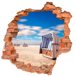 DesFoli Wandtattoo Strand Strandkorb Meer Natur B0082 90 cm x 87 cm