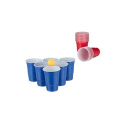 relaxdays Spiel, Bierpong Becher Set mit Bällen