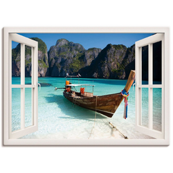 Artland Wandbild Fensterblick Maya Bay Koh Phi Phi Leh, Fensterblick (1 Stück) 70 cm x 50 cm x 1,8 cm