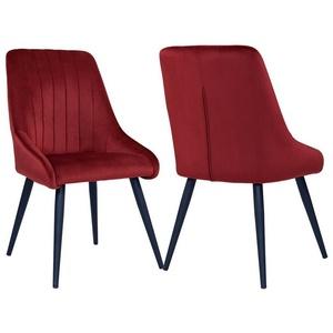 Duhome Esszimmerstuhl, 2er Set Esszimmerstuhl Polsterstuhl Stoff Samt Stuhl Retro Metallbeine rot