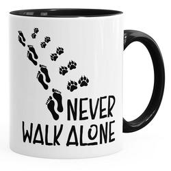 MoonWorks Tasse Tasse Never walk alone Hund Pfoten Hundepfoten Pfotenabdrücke Hundebesitzer Kaffeetasse Teetasse Keramiktasse MoonWorks®