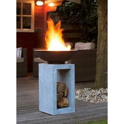 OUTLIV. Feuerschale auf Säule Clayfibre Hellgrau