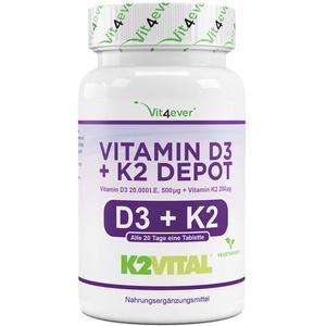 Vitamin D3 20.000 I.E + Vitamin K2 200 mcg Menaquinon MK7 Depot - 180 Tabletten - 99,7+% All-Trans (K2VITAL® von Kappa) - Laborgeprüft - Vegetarisch - Hochdosiert - Premium Qualität