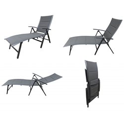 Pure Home & Garden NOX Padded Alu-Sonnenliege Klappliege anthrazit / mixed-taupe
