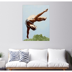 Posterlounge Wandbild, Kunstspringerin über den Baumwipfeln 30 cm x 40 cm