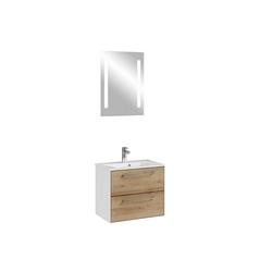 Lomadox Waschtisch-Set FES-3065-66, (Spar-Set), Waschtisch in weiß matt & Riviera Eiche quer Nb., LED-Touch Spiegel - B/H/T: 63,6/200/44,7cm