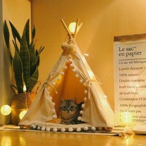 Sport Tent Haustier Hause Hunde Tipi Zelt Haustierhütte für Hunde Welpen Katzen, Haustierbett Hundebett Hundehaus mit abnehmbarem und waschbarem Kissen, Pompons (M (Unter 7KG), mit Kissen)