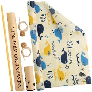 Bienenwachs Tuch aus Bio Baumwolle; 1 Meter Rolle Beeswax Wraps für Brot, Käse und Sandwich; Öko Frischhaltefolie für Lebensmittel; Große & Kleine Nachhaltige Bienenwachstücher in der Küche; Wachstuch