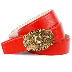 Anthoni Crown Ledergürtel, in rot mit Wolfkopf-Schnalle Damen Ledergürtel Gürtel Accessoires