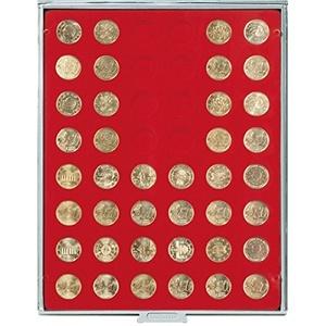 LINDNER Das Original Münzbox Standard mit 48 runden Vertiefungen für Münzen mit Ø24,25 mm