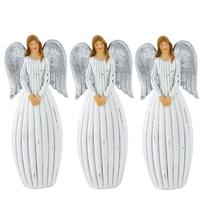 3er Set X-MAS Engel Weihnachts Dekoration Fensterbank Steh Figuren silber Flügel