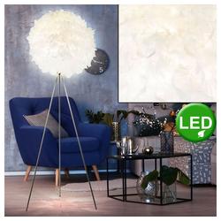etc-shop Stehlampe, Steh Lampe Feder Kugel Leuchte Wohn Ess Zimmer Strahler im Set inkl. LED Leuchtmittel