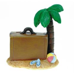 Kremers Schatzkiste Spardose Spardose Insel mit Koffer 12 cm Reisekasse Urlaubskasse Urlaub Sparschwein