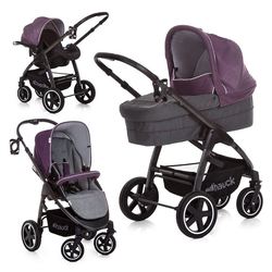 Hauck Kombi-Kinderwagen Soul Plus Trio-Set - Berry, (6-tlg), 3in1 Kinderwagen-Set (Sportwagen und Babywanne)