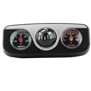 Qiilu Kompass 3 in 1 Multifunktions Kompass Dash Mount Navigation Richtung Digitalkompass Thermometer Hygrometer Einstellbar für LKW Boot Auto Innenausstattung und Wissenschaftliches Werkzeug