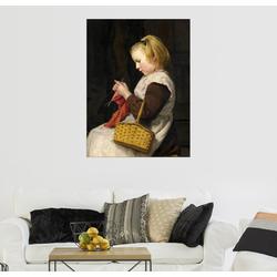 Posterlounge Wandbild, Strickendes Mädchen mit Korb 50 cm x 70 cm