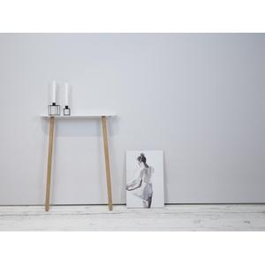 kommod Konsolentisch PLEASE, Designkonsole, Wandkonsole, Konsolentisch, Wandlehn-Tisch – 75 x 60 x 15 cm – aus pulverbeschichtetem Metall weiß lang - 60 cm x 75 cm x 15 cm