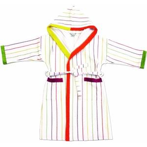 framsohn Kinderbademantel Kaputze ''Stripes'' Weiß/Farbige Streifen Größe 164