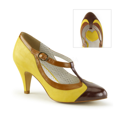 Retro T-Riemchen Pumps PEACH-03 - Gelb
