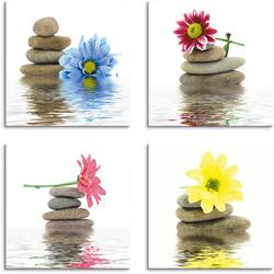 Artland Leinwandbild Zen Therapie-Steine mit Blumen, Zen (4 Stück) 30 cm x 30 cm x 1,2 cm