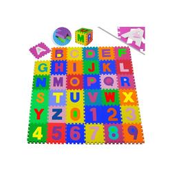 KESSER Puzzlematte, 86 Puzzleteile, Kinderspielteppich aus Puzzleteilen 86-teilig Spielmatte Schaumstoffmatte Kinderteppich Puzzle Zahlen und Buchstaben, Maß je Matte ca. 31,5 x 31,5 cm Schutzmatte bunt