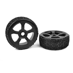 Team Corally C-00180-376 Team Corally - Off-Road 1/8 Buggy Tires - Ninja - Low Profile - Glued on Black Rims - 1 pair