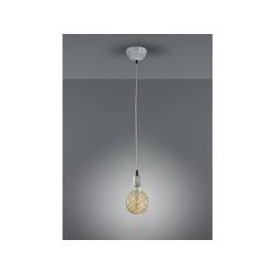TRIO LED Pendelleuchte, Industrie-Lampe mit Lampen-Kabel Küchen-Lampe für über Esstisch Kücheninsel Kochinsel, kleine Couchtisch Wohnzimmer-Lampe hängend einflammig, Grau Antik grau