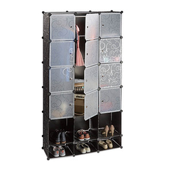 relaxdays Kleiderschrank transparent / schwarz 15 Fachböden