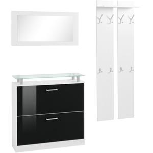 borchardt Möbel Garderoben-Set Finn, (Set, 3 St.), mit Glasablage schwarz Garderoben-Sets Garderoben