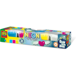 SES Creative Knete Neon und Glow in the dark-Knete 4 x 90g