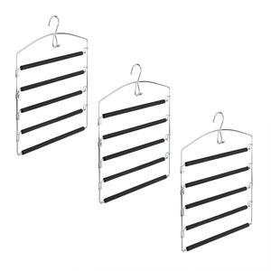 Relaxdays Hosenbügel platzsparend, 3er Set Hosenkleiderbügel mehrfach, Metall, HxBxT: 44,5x37x2,7 cm, silber/schwarz