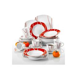 MALACASA Tafelservice FELISA (30-tlg), Porzellan, Geschirrset aus Porzellan mit rotes Streifen