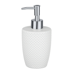 WENKO Punto Seifenspender, 380 ml, Nachfüllbarer Seifendosierer für die portionierte Abgabe von Flüssigseife, Farbe: Weiß