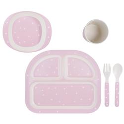 Kindsgut Kindergeschirr-Set Geschirrset (4-tlg), Melamin, Kinder-Geschirr, Besteck, Dreiecke rosa, Ess-Set aus Gabel, Löffel, Teller, Schale und Becher, unisex, umweltfreundlich rosa