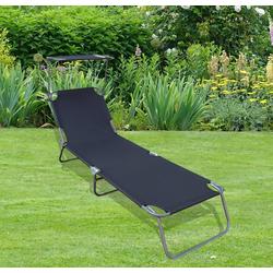 VCM Gartenliege Gartenliege mit Sonnendach grau