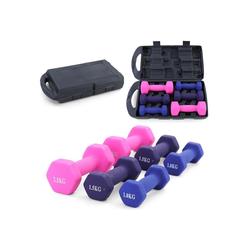 RAMROXX Hantel-Set 10kg Fitness Vinyl Hanteln Set 2x1kg 2x1,5kg 2x2,5kg Gymnastikhanteln Kurzhantel