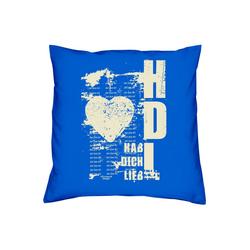 Soreso® Dekokissen Kissen Hab Dich lieb Kissenbezug und Füllung, Geschenkset Mitbringsel blau