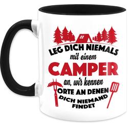 Shirtracer Tasse Leg dich niemals mit einem Camper an Tasse - Tasse mit Spruch - Tasse zweifarbig, Keramik