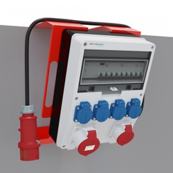 Baustromverteiler mit Ständer Stromverteiler pTD-S/FI 32A 16A 4x230V Mennekes Steckdosen Doktorvolt 6160