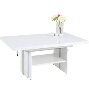 Couchtisch Julius Wohnzimmertisch Weiß Glänzend Ausziehbar Höhenverstellbar