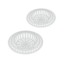 Metaltex Abflusssieb aus Kunststoff, weiß, Praktisches Haarsieb für Duschen, Badewannen und Spülen, 2-teiliges Set, Ø 7 cm