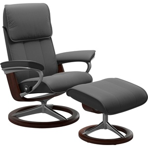 Stressless® Relaxsessel Admiral (Set, Relaxsessel mit Hocker), mit Hocker, mit Signature Base, Größe M & L, Gestell Braun grau 84 cm x 110 cm x 73 cm