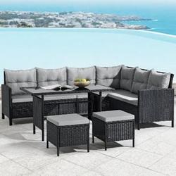 ArtLife Polyrattan Lounge Manacor   Gartenmöbel Set mit Sofa, Tisch & 2 Hockern   schwarz