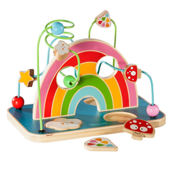 howa Motorikschleife my rainbow, Motorikspielzeug mit Puzzle aus Holz